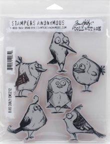 Sizzix Gummi stempel, skøre fugle