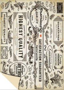 DESIGNER BLÖCKE  / DESIGNER PAPER Scheda Stock Vintage Labels