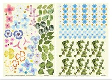 Embellishments / Verzierungen Die cut sheet, set of 2 flower arrangements, blue