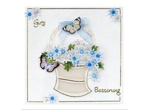 Embellishments / Verzierungen Die hojas sueltas, juego de 2 centros de flores, azul