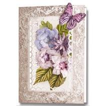 Stanzbogen, 2er Set Blumen Gestaltungen, lila