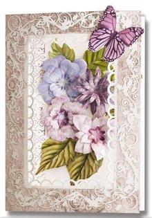 Embellishments / Verzierungen Die cut ark, sæt med 2 blomsterdekorationer, lilla