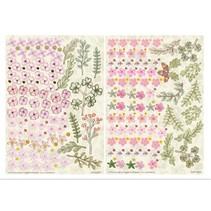Stanzbogen, 2er Set Blumen Gestaltungen, rosa
