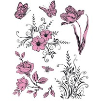 Tema: Flores transparentes sellos