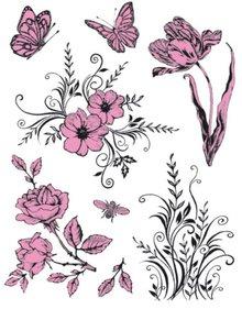 Viva Dekor und My paperworld Gennemsigtige frimærker Tema: Blomster