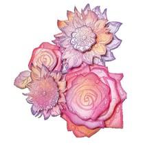 selos transparentes, rosas 3D