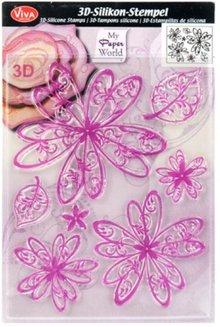 Viva Dekor und My paperworld I timbri trasparenti, fiori 3D
