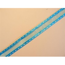 organza Dekoband with embroidered edges, turquoise