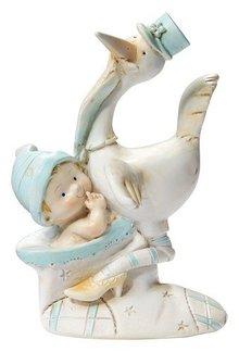 Embellishments / Verzierungen Stork blå i skoen, 8,5 cm