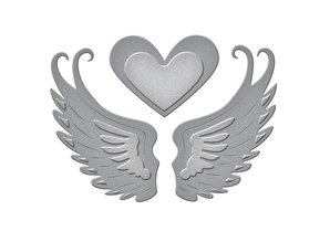 Spellbinders und Rayher Punching and embossing template: 2 wings and a heart