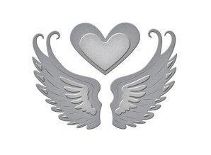 Spellbinders und Rayher Stansning og prægning skabelon: 2 vinger og et hjerte