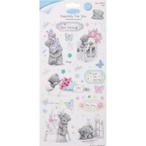 Spaanplaat Stickers Glitter, set van 2, Frühlingsmotive