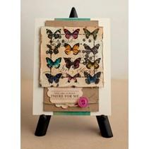 A5 timbri Unmounted impostati: uccelli, farfalle, corona e carrozza con cavallo