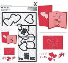 X-Cut / Docrafts X-cut, hulning skabelon, A5 Set (11pcs) - Pop Up Card Kærlighed