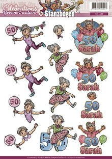 Yvonne Creations 3D Stanzbogen, 50ste feiern, Party