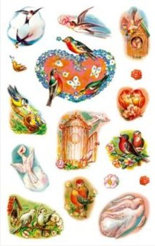 Sticker adesivi creativi, uccelli primaverili