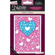 Ponsen en embossing sjabloon: filigraan frame van het hart