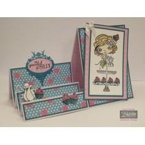 Stempelset + Basis Steppkarte: Mädchen mit Cupcake