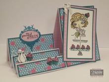 Crafter's Companion Stempel + bund tap Kort: Pige med Cupcake