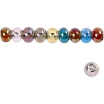 10 glass beads, D: 13-15 mm, transparent colors