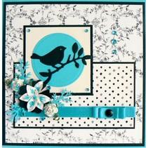Troquelado y estampado en relieve plantilla: Pájaro en una rama