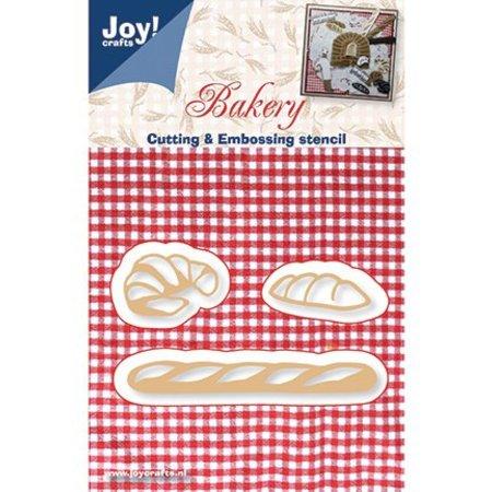 Joy!Crafts und JM Creation Troquelado y estampado en relieve plantilla: pan, pan francés y croissants