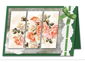 BASTELSETS / CRAFT KITS: Bastelset: Triptychonkarten (trifold card) with flowers