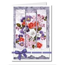 Bastelset: Triptychonkarten (dreifach gefaltete Karten) mit Blumen