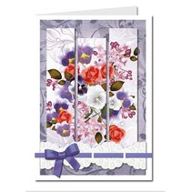 Bastelset: Triptychonkarten (trifold card) with flowers