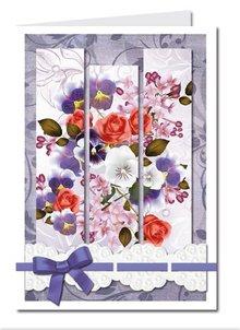 BASTELSETS / CRAFT KITS: Bastelset: Triptychonkarten (trifold kort) med blomster