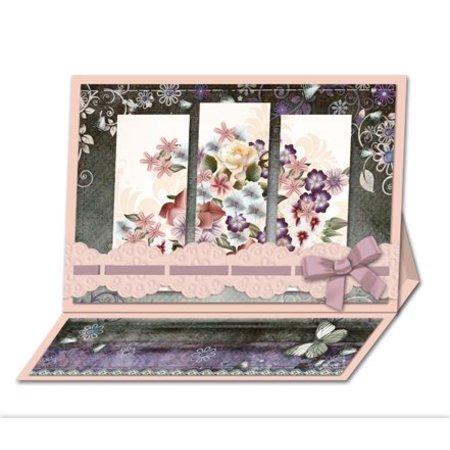 BASTELSETS / CRAFT KITS: Bastelset: Triptychonkarten (dreifach gefaltete Karten) mit Blumen