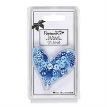 60 Mini Knöpfe, blau mit Punkten