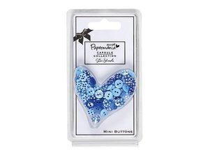 Docrafts / Papermania / Urban 60 Mini Knöpfe, blau mit Punkten