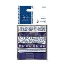 Docrafts / Papermania / Urban 6 X 1 m de cinta de satén, tonos azules, ParisienneBlue