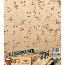 Designer paper, 170gr, Music