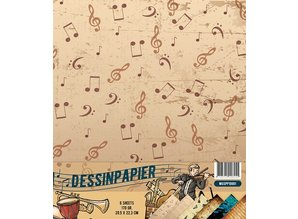 Docrafts / Papermania / Urban Designer paper, 170gr, Music