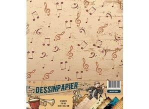Docrafts / Papermania / Urban Designer papir, 170gr, Musik