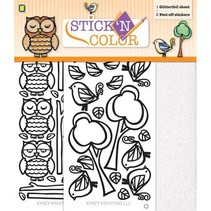 1/2 Glitterfoil arco pegatinas despegables: Owl