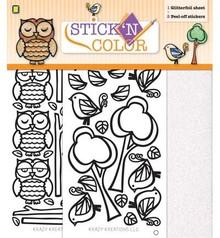 Sticker 1 Glitterfoil Bogen / 2 Peel-off Aufkleber: Eule