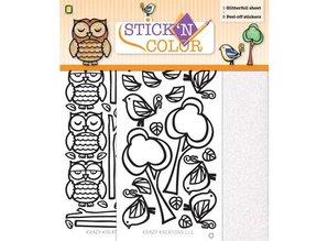 Sticker 1 Glitterfoil bue / 2 Peel-off stickers: Ugle