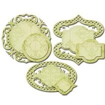 Stansning og prægning skabelon: dekorative etiketter