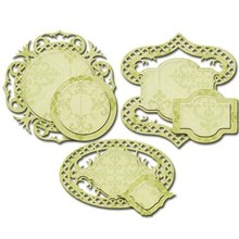 Spellbinders und Rayher Punching and embossing template: decorative labels