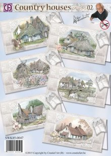 BASTELSETS / CRAFT KITS: Package for 6 cards with beautiful country houses