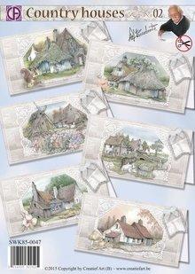 BASTELSETS / CRAFT KITS: Pakke til 6 kort med smukke land huse