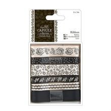 Docrafts / Papermania / Urban 6 X 1 m de cinta de satén, los tonos negros, Blush medianoche