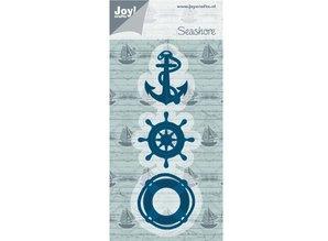Joy!Crafts und JM Creation Stansning og prægning skabelon: anker, bøje, strand Boat