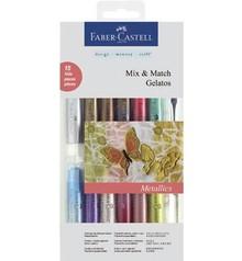 FARBE / INK / CHALKS ... Gelatos Metallics farver 12 + 1 + 2 børste svamp