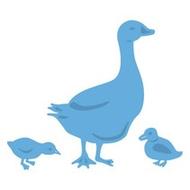 Troquelado y estampado en relieve plantilla: Ganso de la madre y de los polluelos