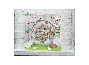 Marianne Design Troquelado y estampado en relieve plantilla: Ganso de la madre y de los polluelos