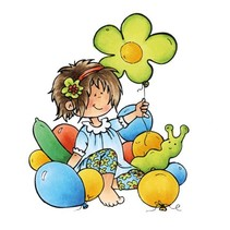 Transparent Stempel: Snoesjes, Mädchen mit Ballonnen
